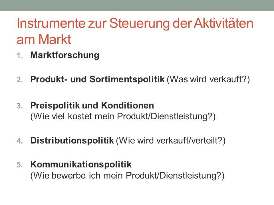 Instrumente zur Steuerung der Aktivitäten am Markt