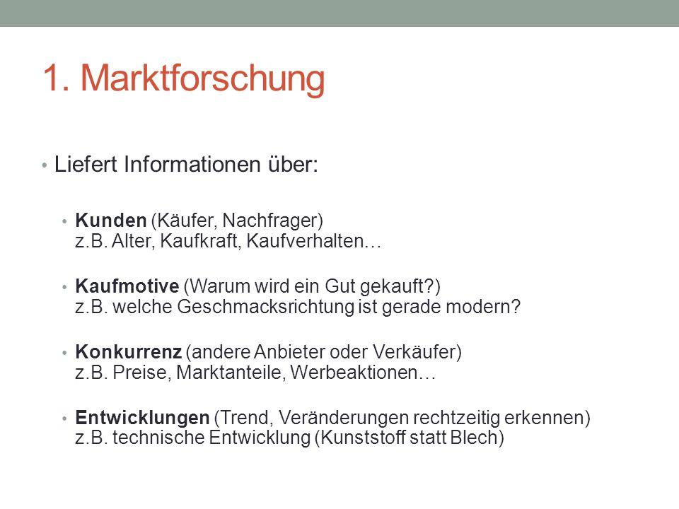 1. Marktforschung Liefert Informationen über: