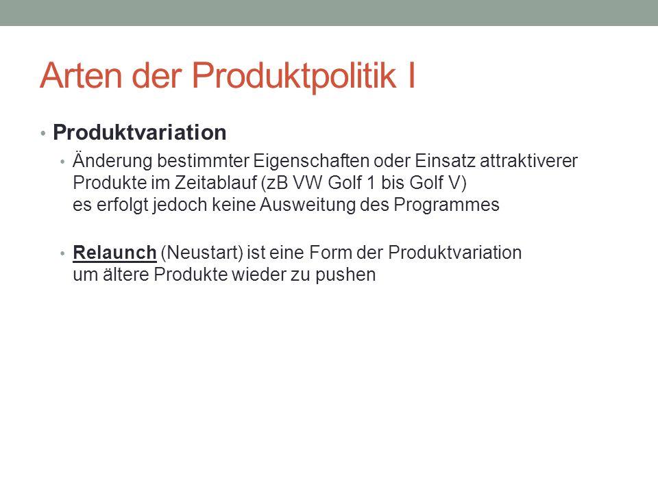 Arten der Produktpolitik I