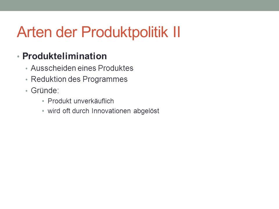 Arten der Produktpolitik II