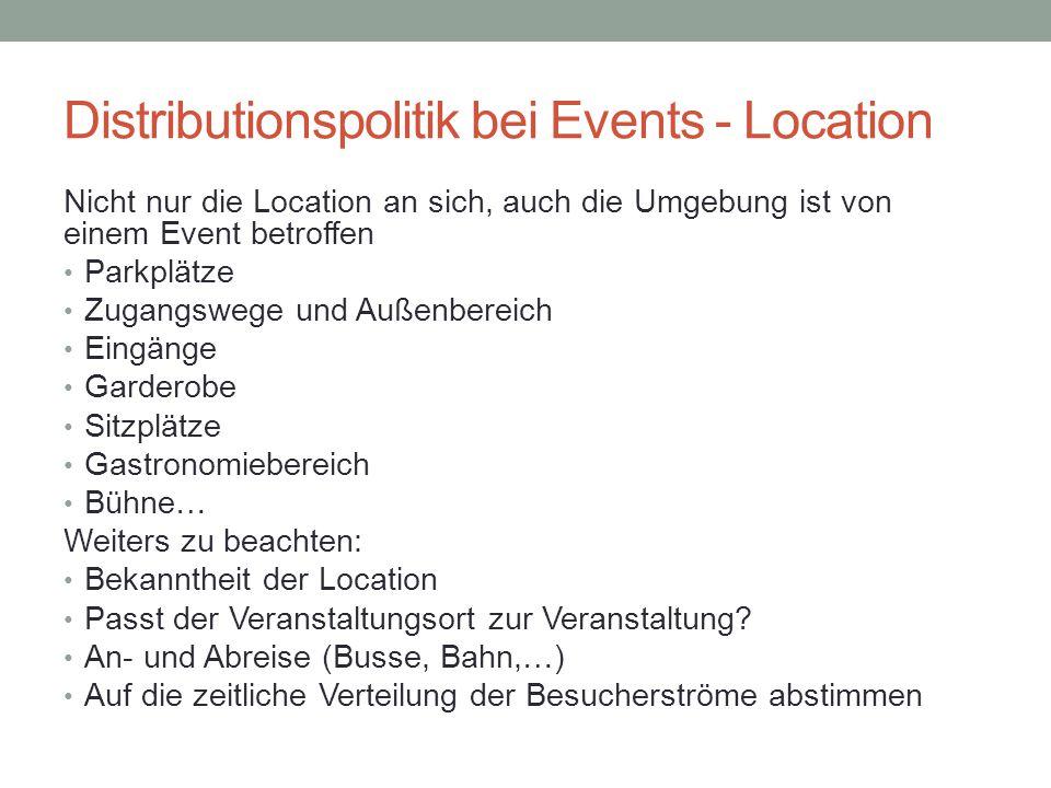 Distributionspolitik bei Events - Location