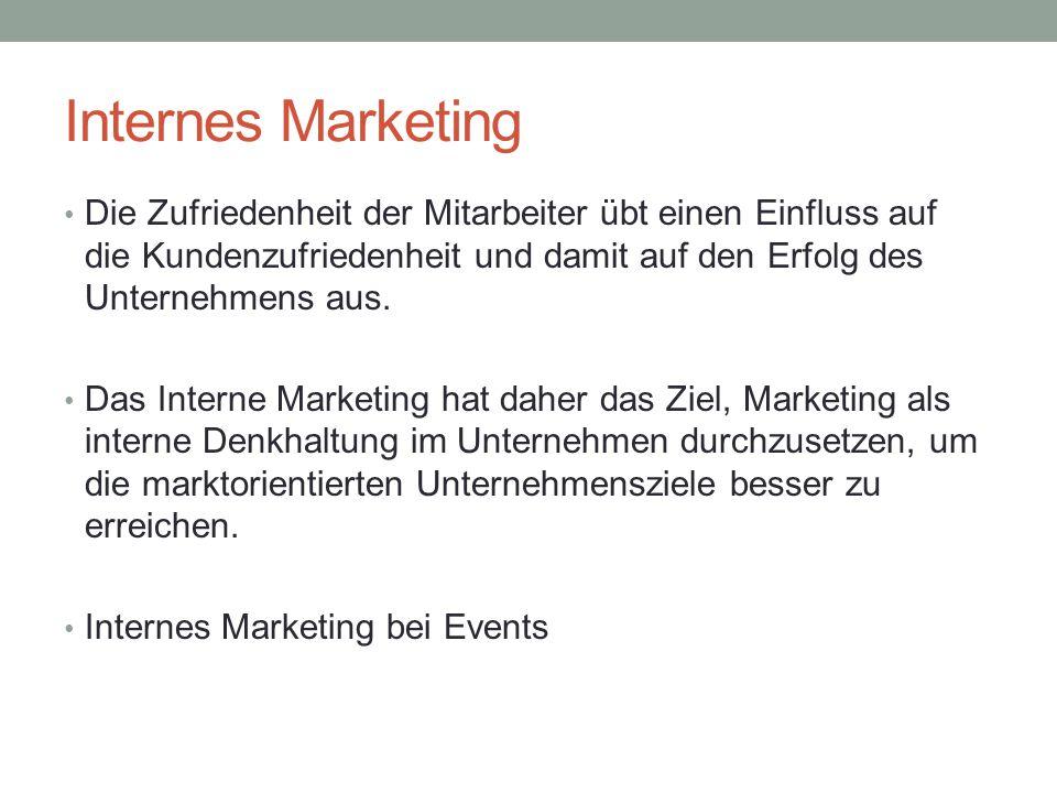 Internes Marketing Die Zufriedenheit der Mitarbeiter übt einen Einfluss auf die Kundenzufriedenheit und damit auf den Erfolg des Unternehmens aus.
