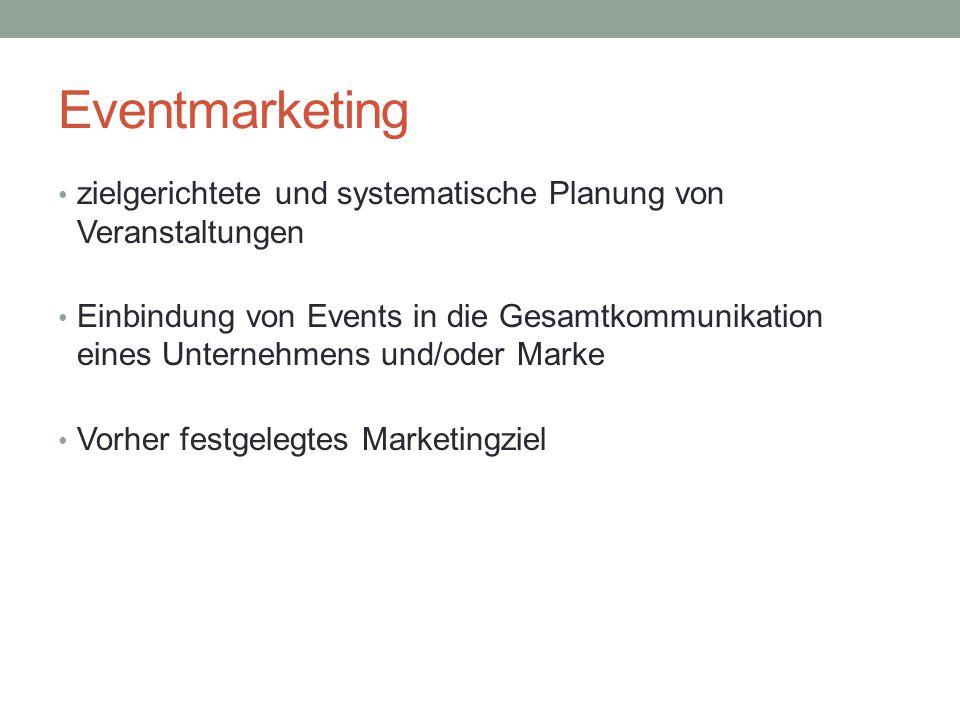 Eventmarketing zielgerichtete und systematische Planung von Veranstaltungen.