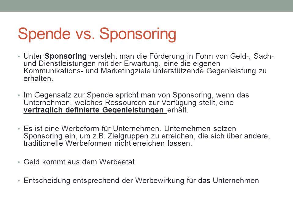 Spende vs. Sponsoring