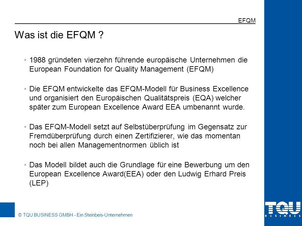 EFQM Was ist die EFQM 1988 gründeten vierzehn führende europäische Unternehmen die European Foundation for Quality Management (EFQM)