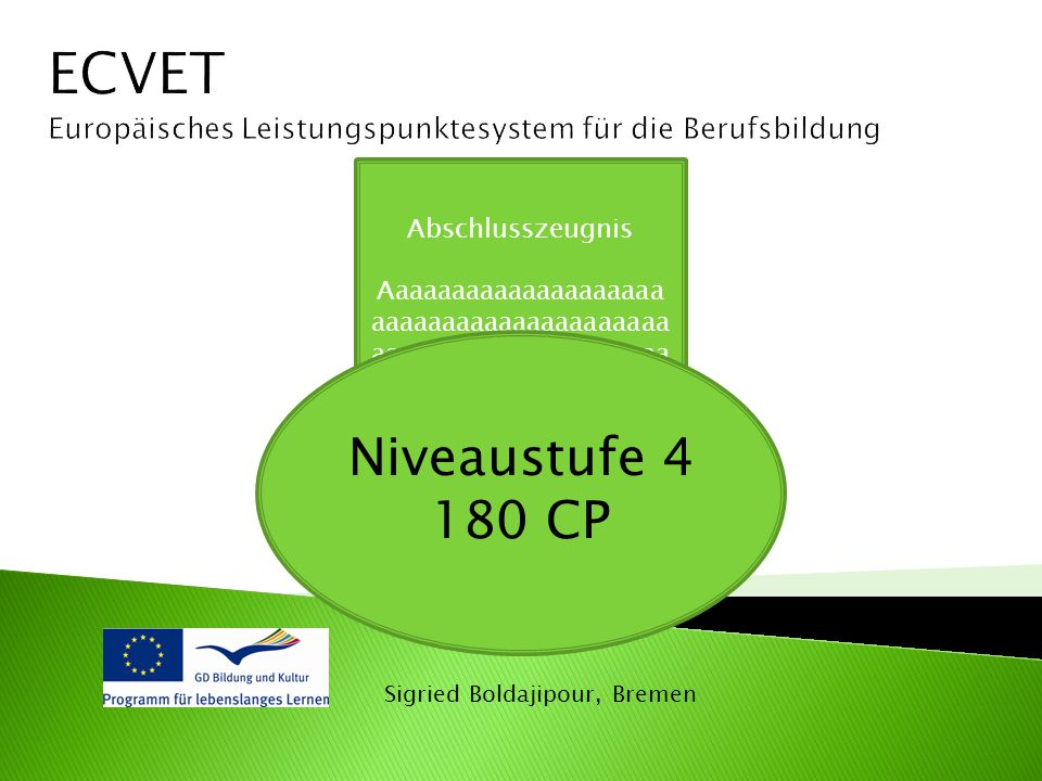 ECVET Europäisches Leistungspunktesystem für die Berufsbildung. Abschlusszeugnis.