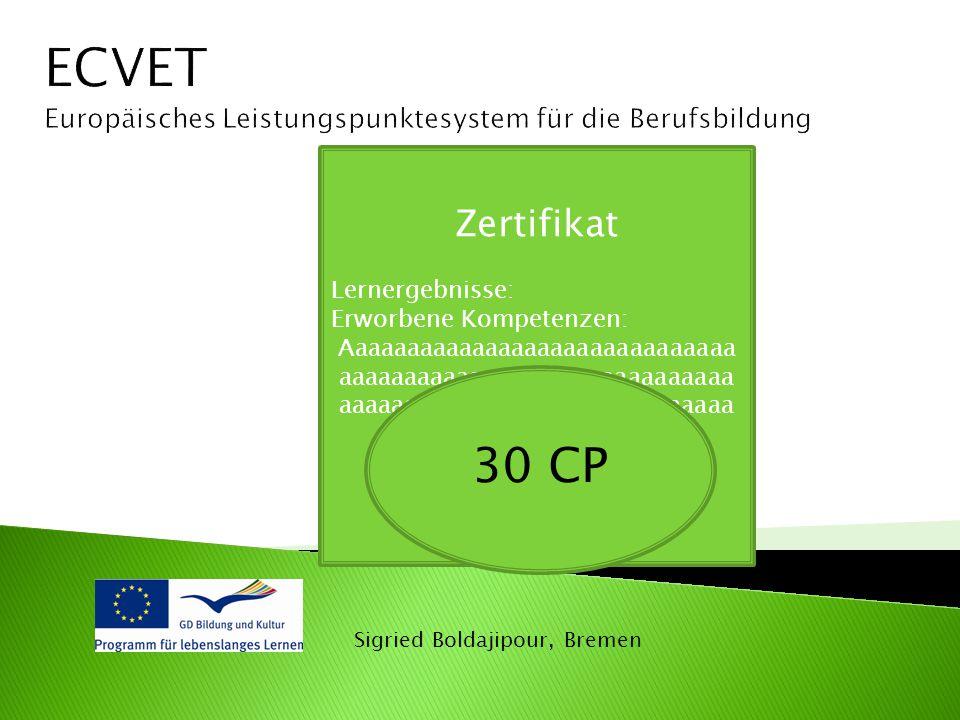 ECVET Europäisches Leistungspunktesystem für die Berufsbildung. Zertifikat. Lernergebnisse: Erworbene Kompetenzen: