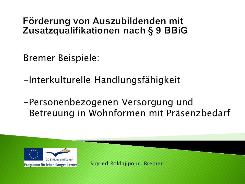Förderung von Auszubildenden mit Zusatzqualifikationen nach § 9 BBiG