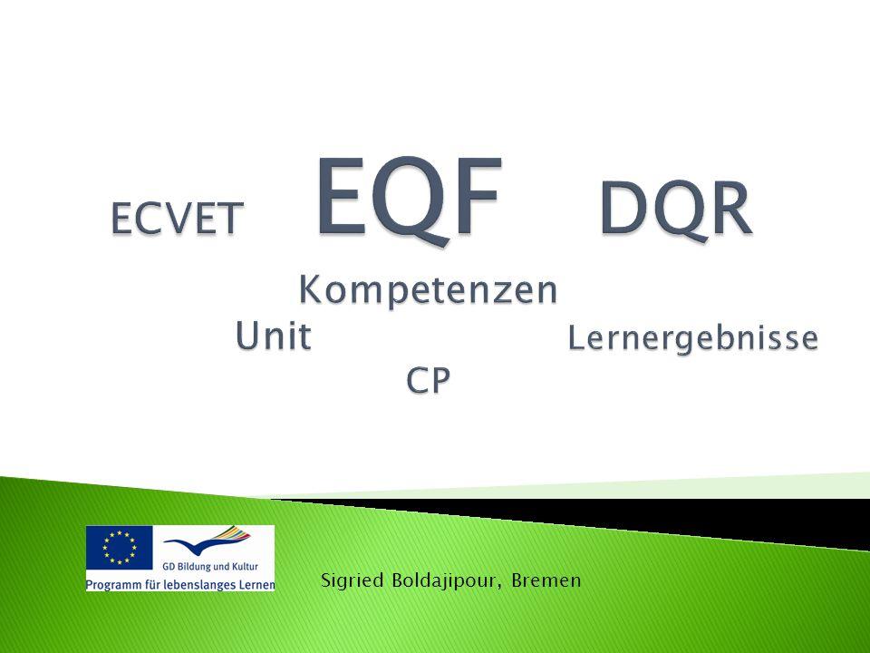 ECVET EQF DQR Kompetenzen Unit Lernergebnisse CP