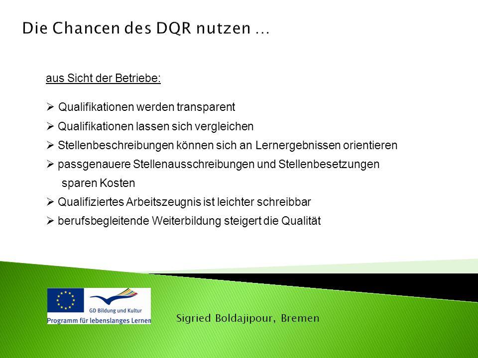 Die Chancen des DQR nutzen …