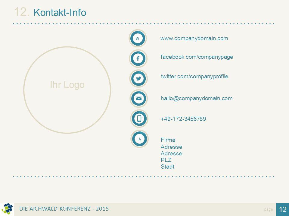 12. Kontakt-Info Ihr Logo 12 DIE AICHWALD KONFERENZ - 2015