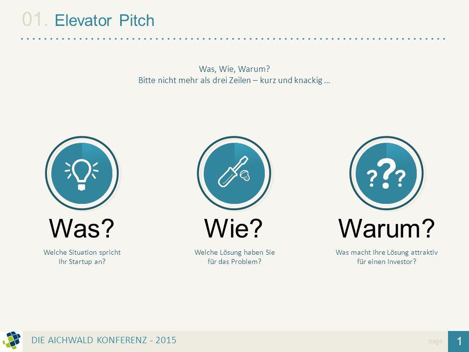 Was Wie Warum 01. Elevator Pitch 1 DIE AICHWALD KONFERENZ - 2015