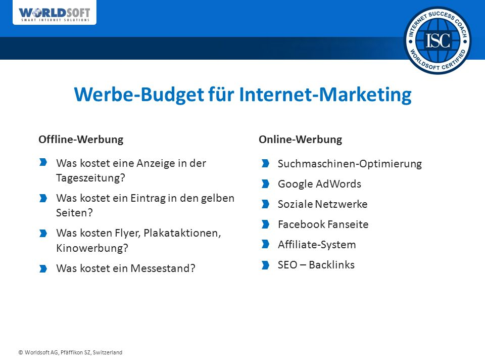 Werbe-Budget für Internet-Marketing