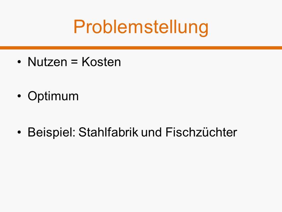Problemstellung Nutzen = Kosten Optimum