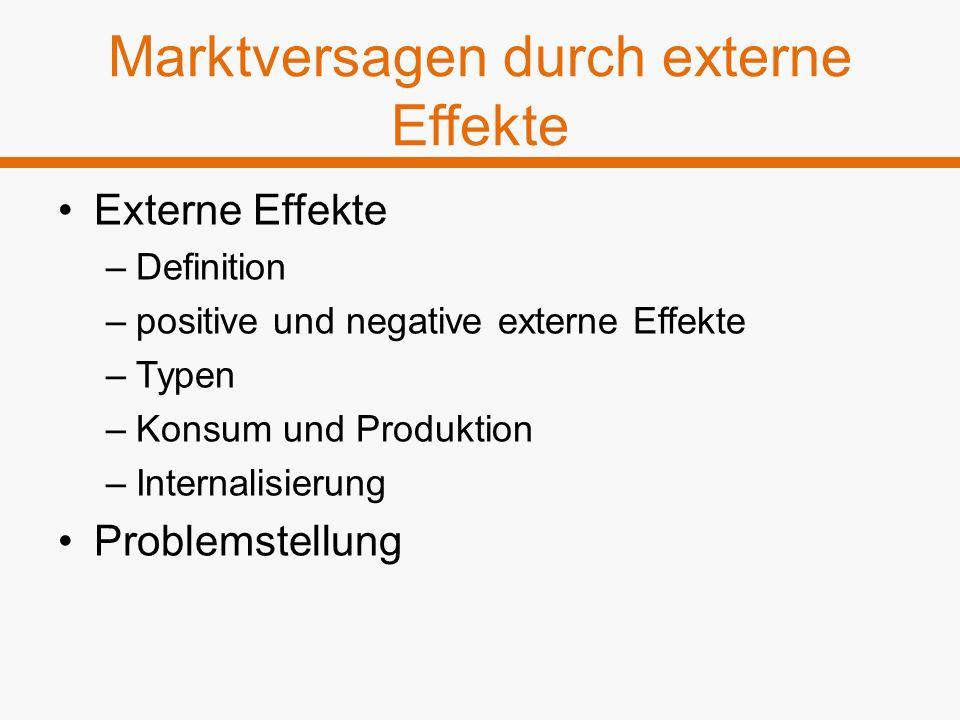 Marktversagen durch externe Effekte