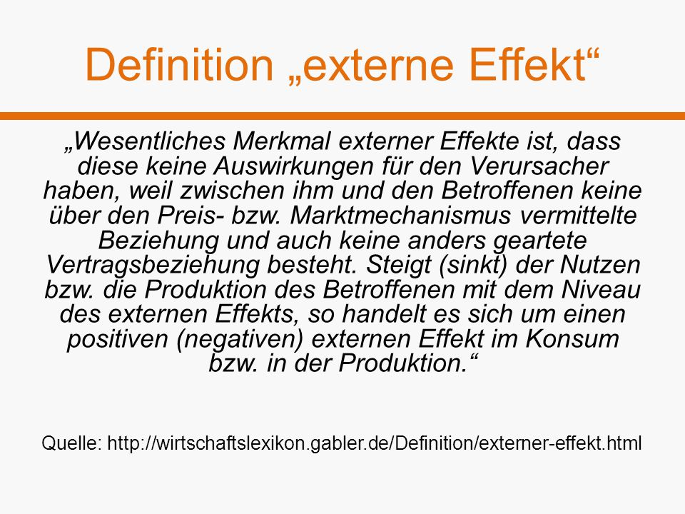 """Definition """"externe Effekt"""