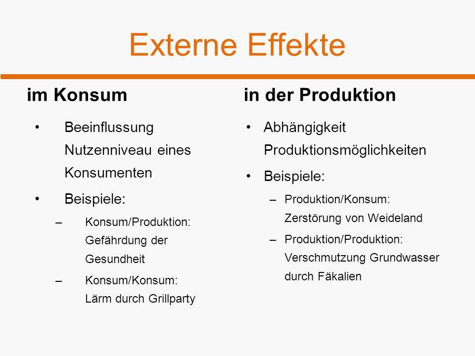 Externe Effekte im Konsum in der Produktion