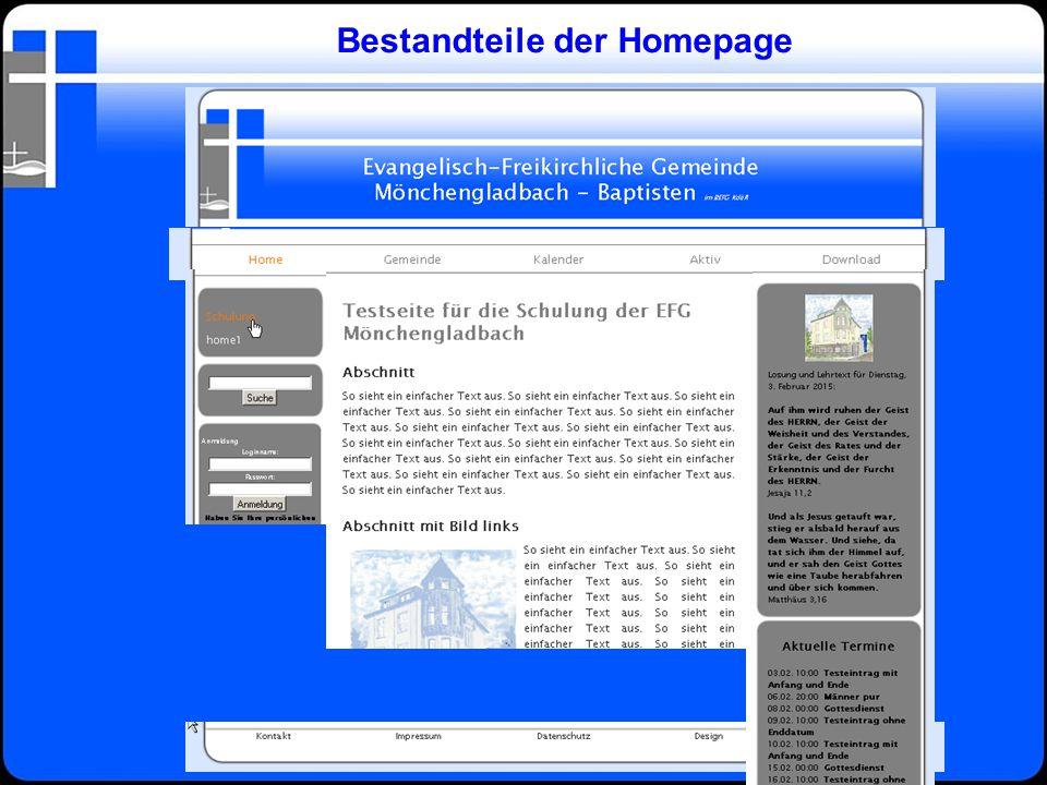 Bestandteile der Homepage