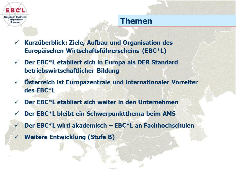 Themen Kurzüberblick: Ziele, Aufbau und Organisation des Europäischen Wirtschaftsführerscheins (EBC*L)