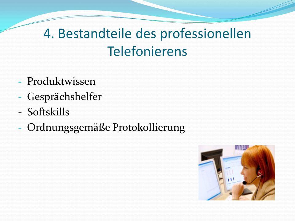 4. Bestandteile des professionellen Telefonierens