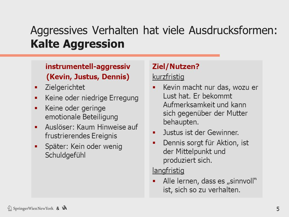 Aggressives Verhalten hat viele Ausdrucksformen: Kalte Aggression
