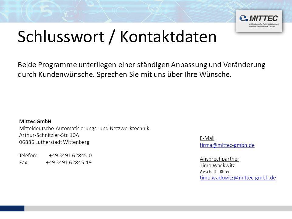 Schlusswort / Kontaktdaten