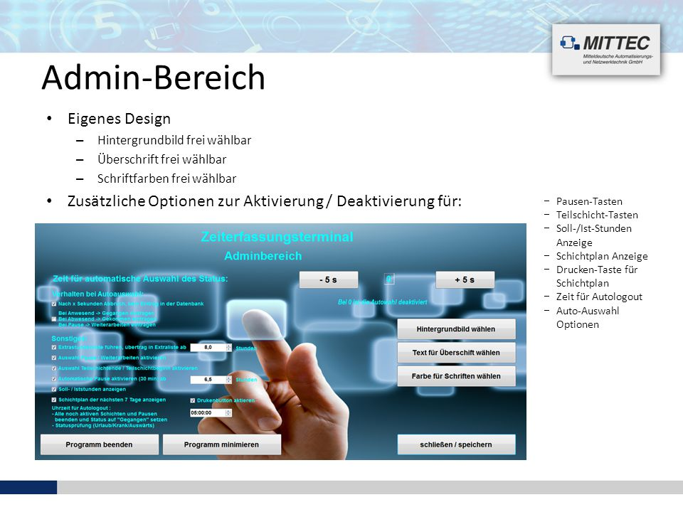 Admin-Bereich Eigenes Design