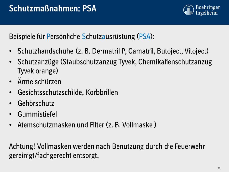 Schutzmaßnahmen: PSA Beispiele für Persönliche Schutzausrüstung (PSA):