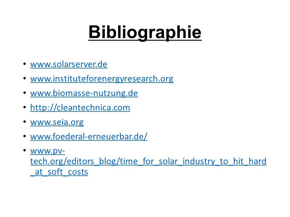 Bibliographie www.solarserver.de www.instituteforenergyresearch.org
