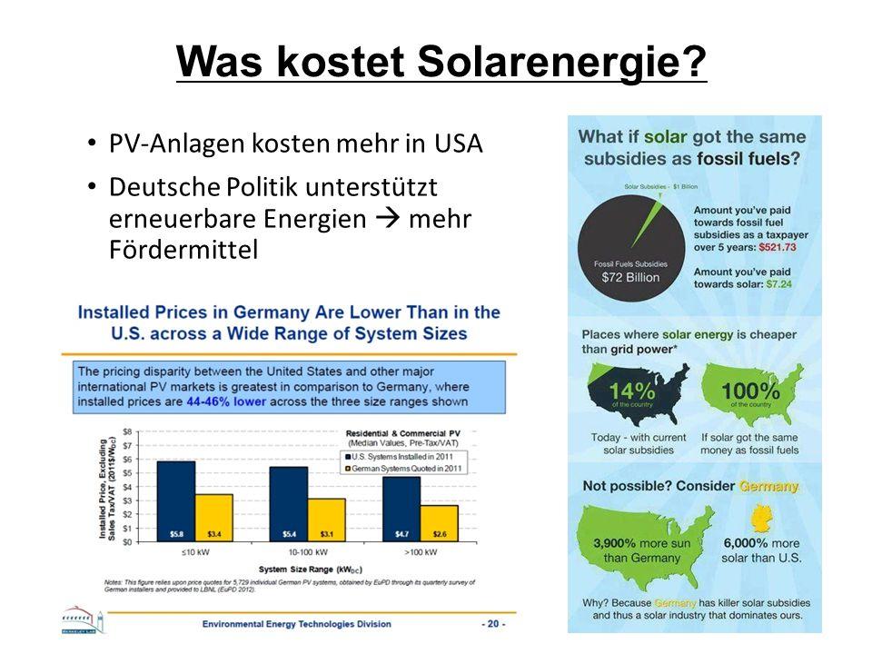 Was kostet Solarenergie