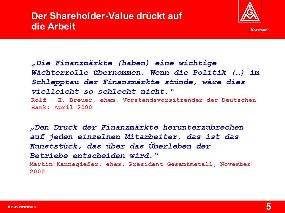 Der Shareholder-Value drückt auf die Arbeit