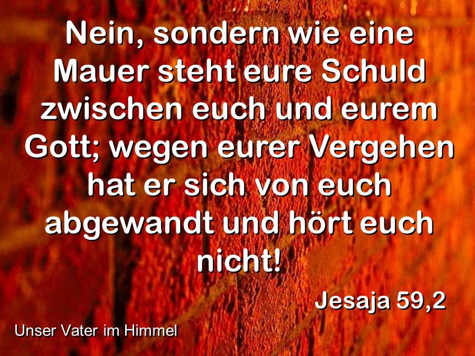 Nein, sondern wie eine Mauer steht eure Schuld zwischen euch und eurem Gott; wegen eurer Vergehen hat er sich von euch abgewandt und hört euch nicht!