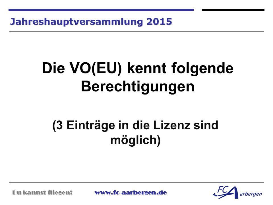 Die VO(EU) kennt folgende Berechtigungen