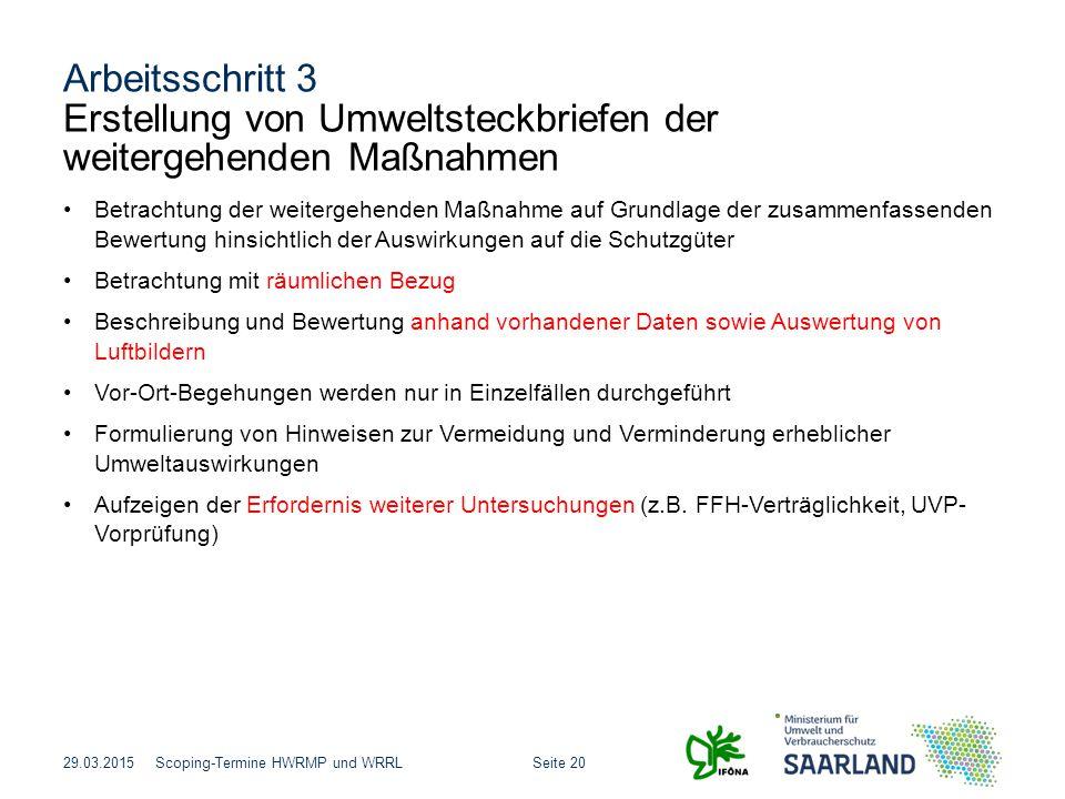 Arbeitsschritt 3 Erstellung von Umweltsteckbriefen der weitergehenden Maßnahmen