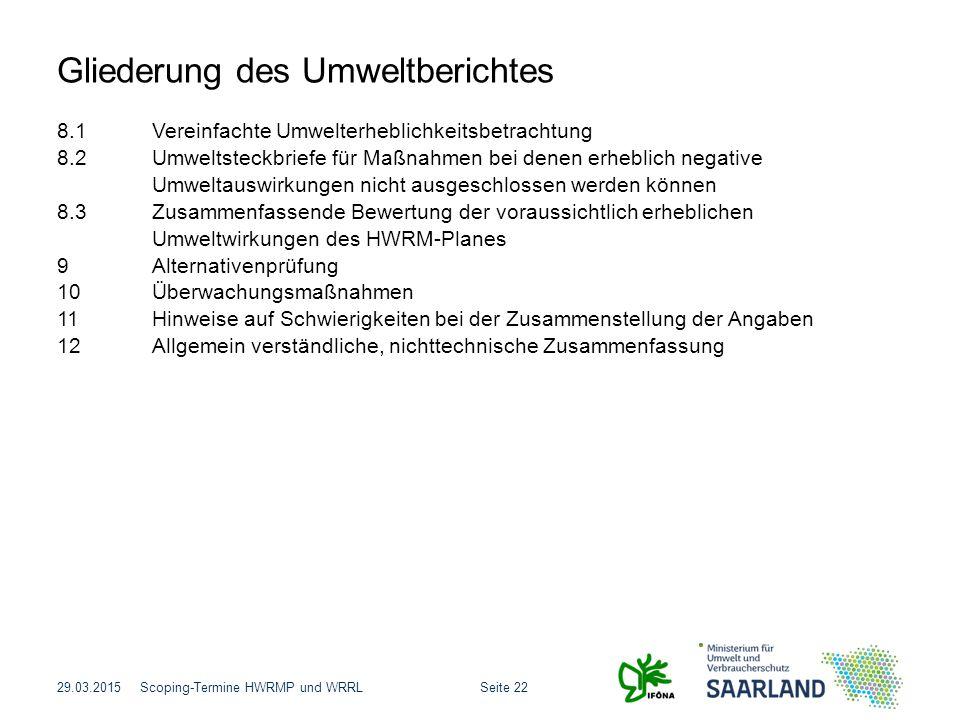 Gliederung des Umweltberichtes