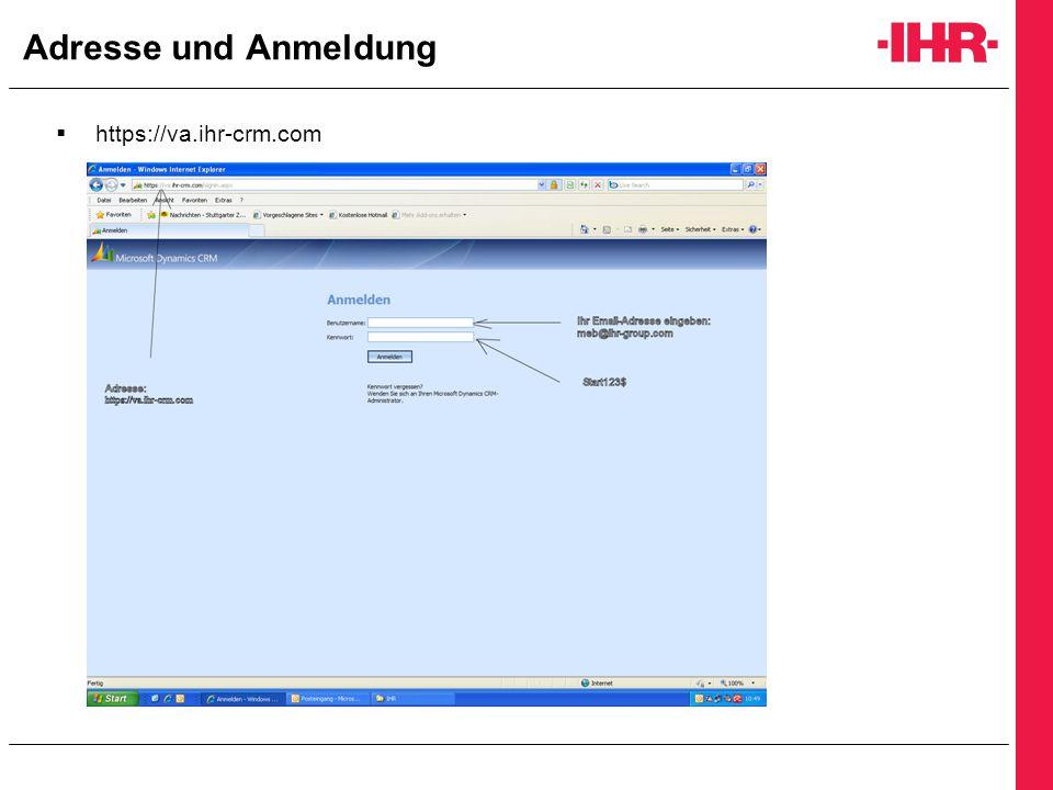 Adresse und Anmeldung https://va.ihr-crm.com