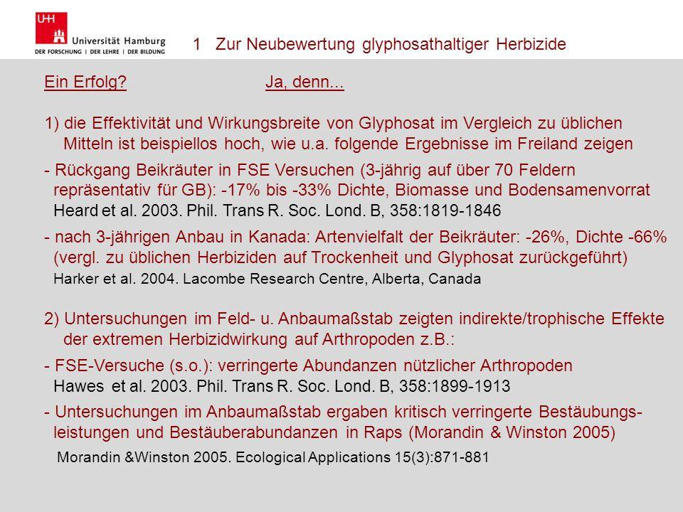1 Zur Neubewertung glyphosathaltiger Herbizide Ein Erfolg Ja, denn...