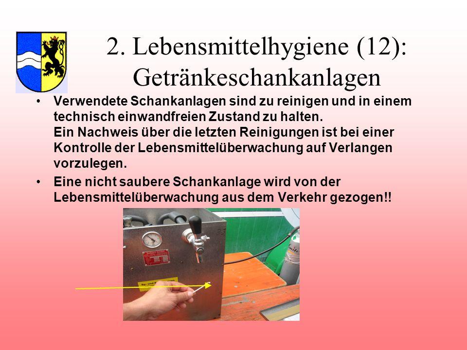 2. Lebensmittelhygiene (12): Getränkeschankanlagen
