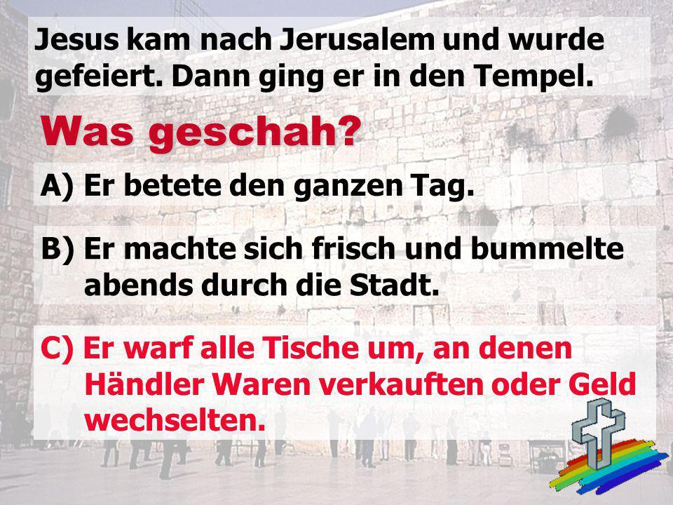 Jesus kam nach Jerusalem und wurde gefeiert. Dann ging er in den Tempel.