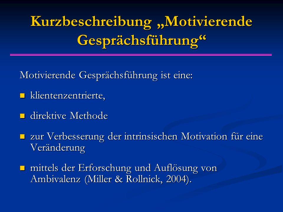 """Kurzbeschreibung """"Motivierende Gesprächsführung"""