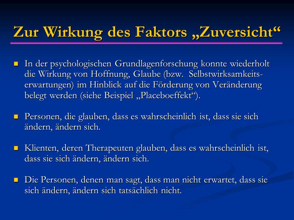 """Zur Wirkung des Faktors """"Zuversicht"""