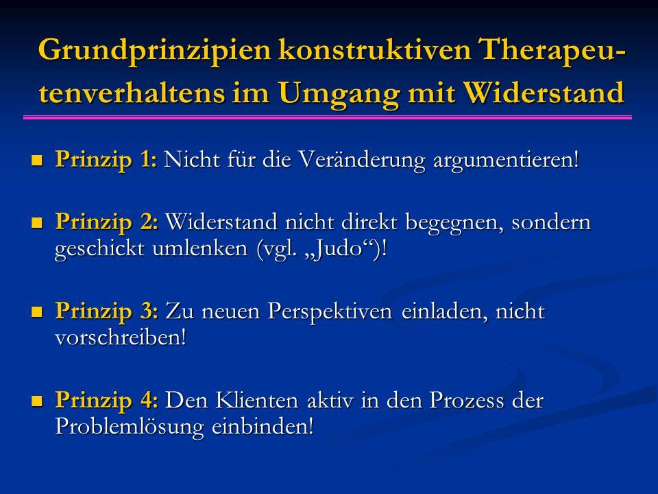 Grundprinzipien konstruktiven Therapeu-tenverhaltens im Umgang mit Widerstand