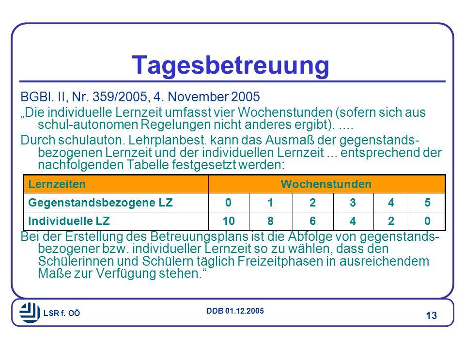 Tagesbetreuung BGBl. II, Nr. 359/2005, 4. November 2005