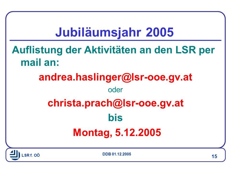 Jubiläumsjahr 2005 Auflistung der Aktivitäten an den LSR per mail an: