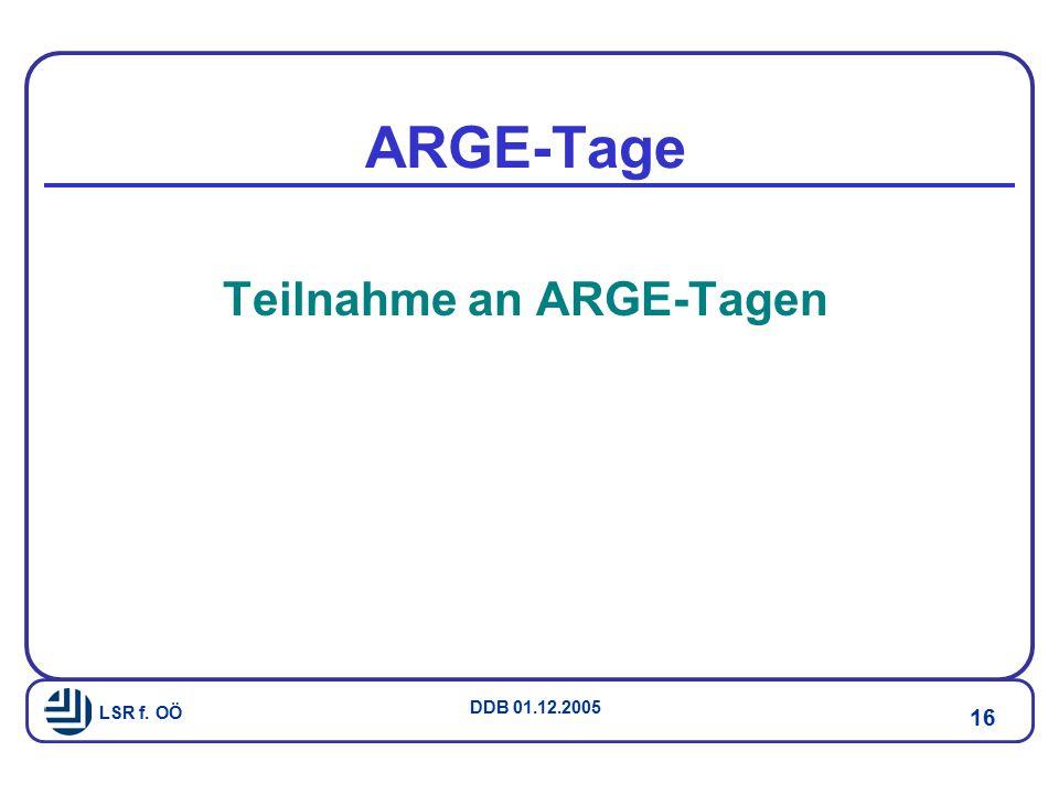 Teilnahme an ARGE-Tagen