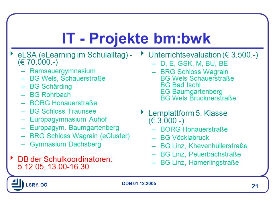IT - Projekte bm:bwk eLSA (eLearning im Schulalltag) - (€ 70.000.-)