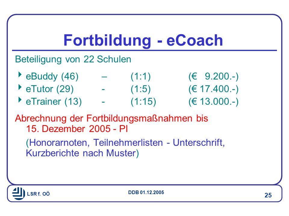 Fortbildung - eCoach Beteiligung von 22 Schulen