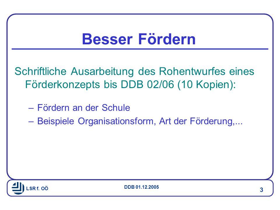 Besser Fördern Schriftliche Ausarbeitung des Rohentwurfes eines Förderkonzepts bis DDB 02/06 (10 Kopien):