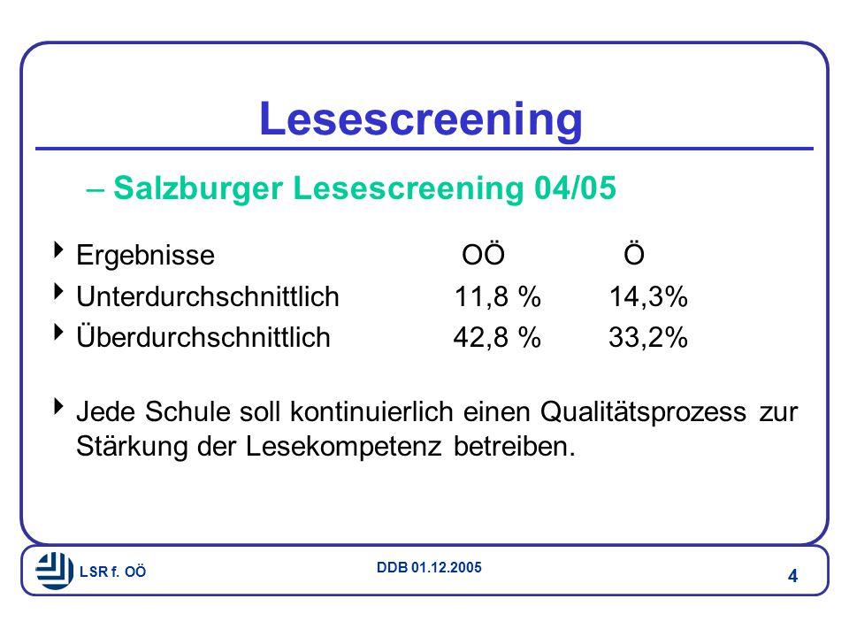 Lesescreening Salzburger Lesescreening 04/05 Ergebnisse OÖ Ö