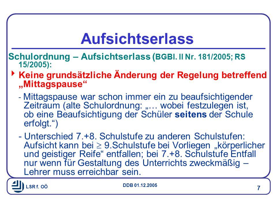 Aufsichtserlass Schulordnung – Aufsichtserlass (BGBl. II Nr. 181/2005; RS 15/2005):